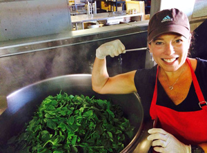 Making some super spinach soup at Souper Natural